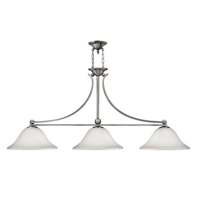 Bolla 3-Light Kitchen Island Pendant Finish: Olde Bronze, Shade Color: Light Amber Seedy Glass