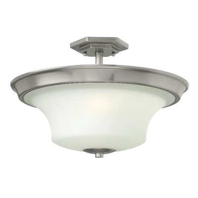 Lurganville 3-Light Semi Flush Mount Fixture Finish: Brushed Nickel, Bulb Type: Incandescent