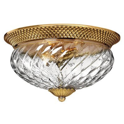 Plantation 3-Light Flush Mount Finish: Burnished Brass