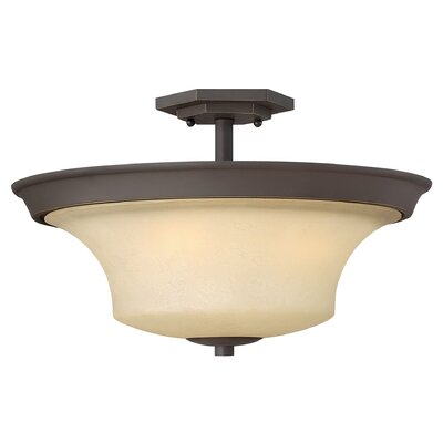 Lurganville 3-Light Semi Flush Mount Fixture Finish: Oil Rubbed Bronze, Bulb Type: Incandescent