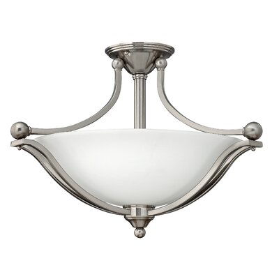 Bolla 3-Light Semi Flush Mount Finish: Brushed Nickel, Bulb Type: Flourescent, Shade Color: Light Amber Seedy Glass