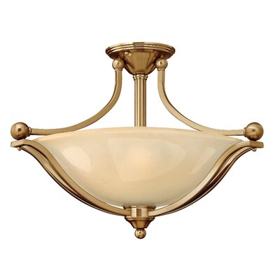 Bolla 3-Light Semi Flush Mount Finish: Brushed Bronze, Bulb Type: Flourescent, Shade Color: Light Amber Seedy Glass