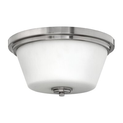 Hollifield Bath 2-Light Flush Mount Fixture Finish: Brushed Nickel, Bulb Type: LED