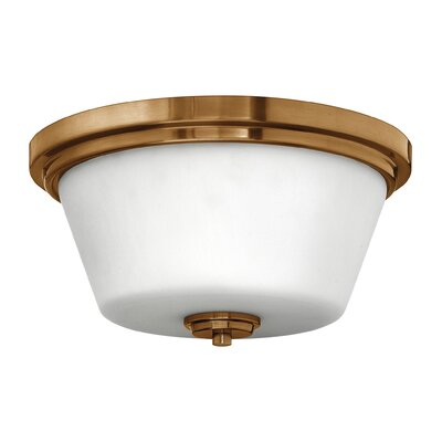Hollifield Bath 2-Light Flush Mount Fixture Finish: Brushed Bronze, Bulb Type: Incandescent