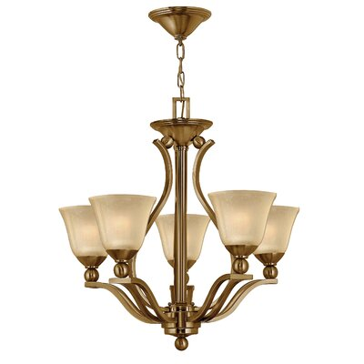 Bolla 5-Light Candle-Style Chandelier Finish: Brushed Nickel, Shade Color: Light Amber Seedy Glass