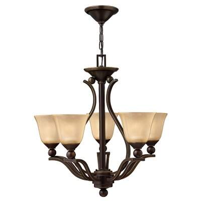 Bolla 5-Light Shaded Chandelier Finish: Olde Bronze, Shade Color: Light Amber Seedy Glass