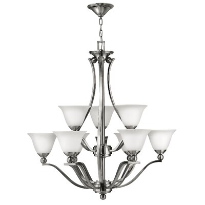 Bolla 9-Light Candle-Style Chandelier Finish: Brushed Nickel, Shade Color: Light Amber Seedy Glass
