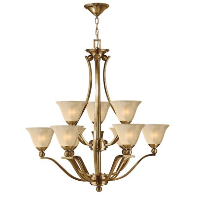 Bolla 9-Light Shaded Chandelier Finish: Brushed Nickel, Shade Color: Light Amber Seedy Glass