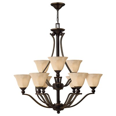 Bolla 9-Light Shaded Chandelier Finish: Olde Bronze, Shade Color: Light Amber Seedy Glass