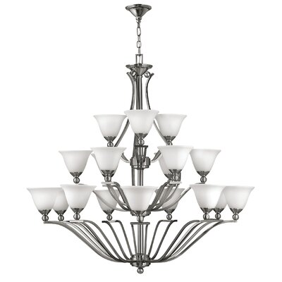 Bolla 18-Light Candle-Style Chandelier Finish: Brushed Nickel, Shade Color: Light Amber Seedy Glass