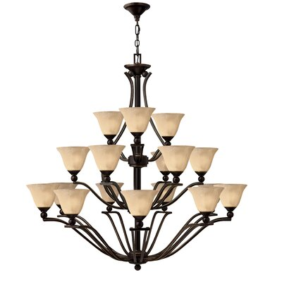 Bolla 18-Light Shaded Chandelier Finish: Olde Bronze, Shade Color: Light Amber Seedy Glass