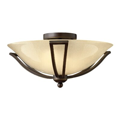 Bolla 2-Light Semi Flush Mount Finish: Brushed Nickel, Bulb Type: Flourescent, Shade Color: Light Amber Seedy Glass