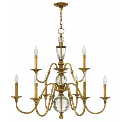 Eleanor 9-Light Candle-Style Chandelier Finish: Heritage Brass