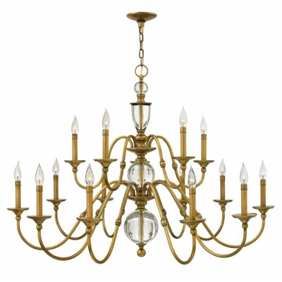 Eleanor 15-Light Candle-Style Chandelier Finish: Heritage Brass