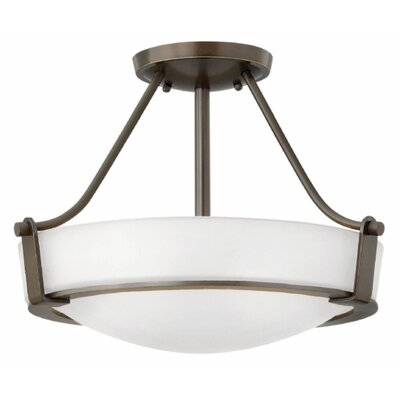 Hathaway 1-Light Semi Flush Mount Size: 12.25 H x 20.75 W