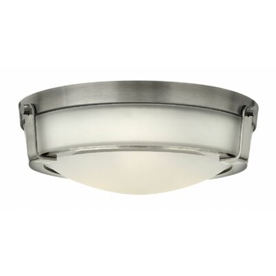 Raevon 3-Light Flush Mount Finish: Antique Nickel, Shade Color: White, Bulb Type: 60W Medium