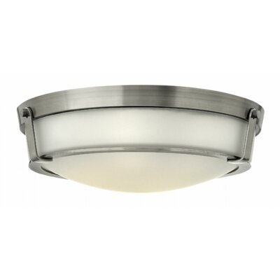 Raevon 4-Light Flush Mount Finish: Antique Nickel, Shade Color: White, Bulb Type: 60W Medium