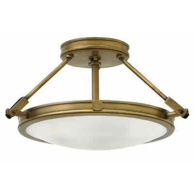 Driden 3-Light Semi Flush Mount Finish: Heritage Brass, Bulb Type: Incandescent