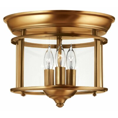 Gentry 3-Light Flush Mount Finish: Heirloom Brass