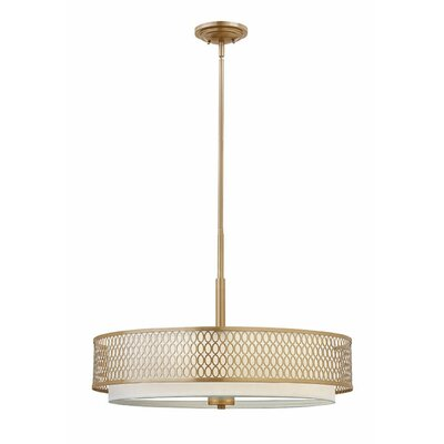 Jules 3-Light Drum Pendant Finish: Brushed Gold, Size: 18.5 H x 21 W x 21 D