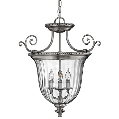 Oxford 3-Light Candle-Style Chandelier Size: 22.5 x 21.5, Finish: Pewter