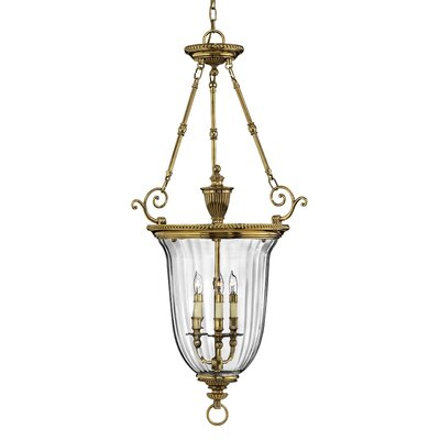Diaw 3-Light Foyer Pendant Finish: Burnished Brass, Size: 44.5 x 22.5