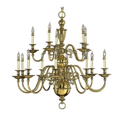 Cambridge 15-Light Candle-Style Chandelier Finish: Burnished Brass