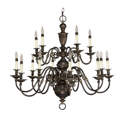 Cambridge 15-Light Candle-Style Chandelier Finish: Olde Bronze