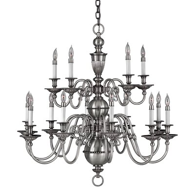 Cambridge 15-Light Candle-Style Chandelier Finish: Pewter