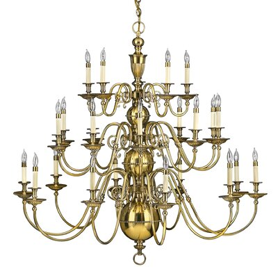 Cambridge 25-Light Candle-Style Chandelier Finish: Burnished Brass
