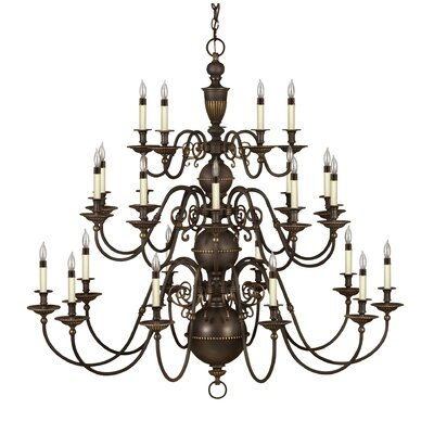 Dhavale 25-Light Candle-Style Chandelier Finish: Olde Bronze