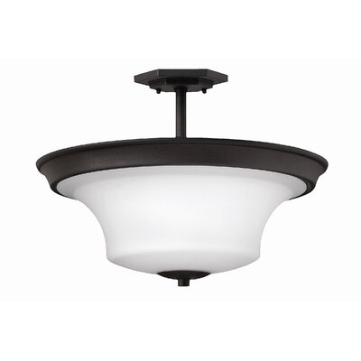 Lurganville 3-Light Semi Flush Mount Fixture Finish: Textured Black, Bulb Type: LED