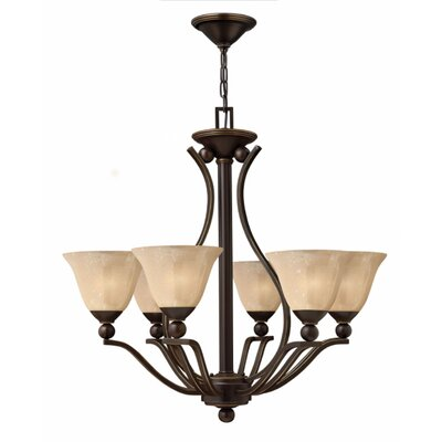Bolla 6-Light Shaded Chandelier Finish: Olde Bronze, Shade Color: Light Amber Seedy Glass
