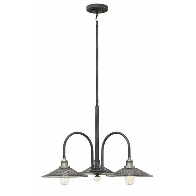 Cavett 3-Light Shaded Chandelier Finish: Aged Zinc