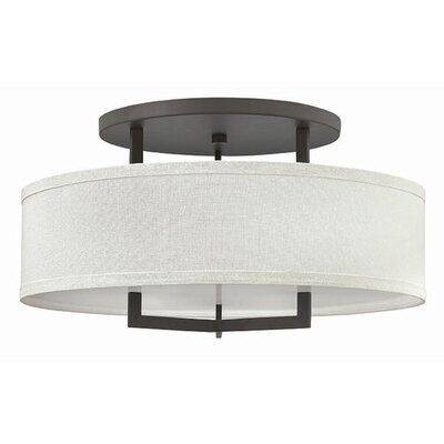 Hampton 3-Light Semi Flush Mount Finish: Buckeye Bronze, Size: 14.5 H x 26 W, Bulb Type: 26W GU24
