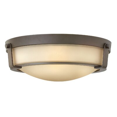 Raevon 3-Light Flush Mount Finish: Olde Bronze, Shade Color: Amber, Bulb Type: 13W GU24