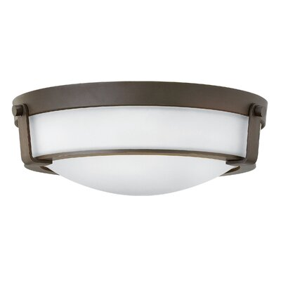 Raevon 3-Light Flush Mount Finish: Olde Bronze, Shade Color: White, Bulb Type: 13W GU24