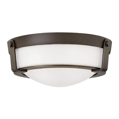 Raevon 2-Light Flush Mount Finish: Olde Bronze, Shade Color: White, Bulb Type: 13W GU24