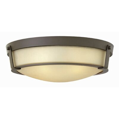 Raevon 4-Light Flush Mount Finish: Olde Bronze, Shade Color: Amber, Bulb Type: 13W GU24