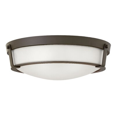 Raevon 4-Light Flush Mount Finish: Olde Bronze, Shade Color: White, Bulb Type: 60W Medium