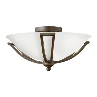 Bolla 2-Light 75W Semi Flush Mount Shade Color: Etched Opal Glass, Bulb Type: FSI, Finish: Olde Bronze