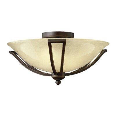 Bolla 2-Light 75W Semi Flush Mount Bulb Type: FSI, Shade Color: Light Amber Seedy Glass, Finish: Olde Bronze