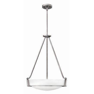 Bowl Pendant Finish: Antique Nickel, Bulb Type: FSI, Size: 26.5 H x 20.75 W x 20.75 D