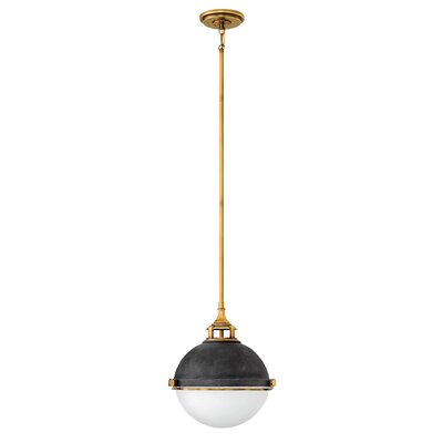 Fletcher 2-Light Globe Pendant Finish: Aged Zinc/Black