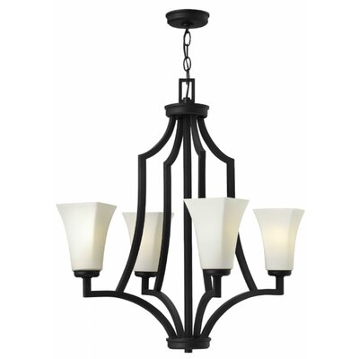 Spencer 4-Light Shaded Chandelier Finish: Textured Black