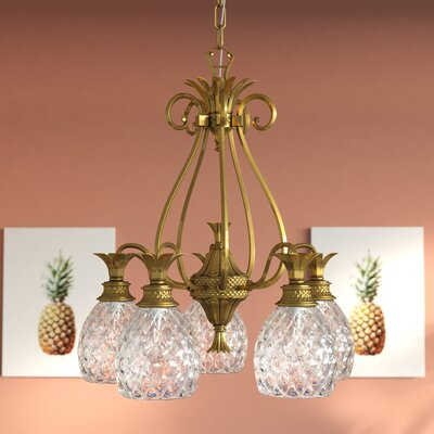 Plantation 5-Light Candle-Style Chandelier Finish: Burnished Brass