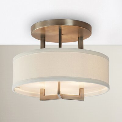 Hampton 3-Light Semi Flush Mount Size: 12 H x 20 W, Finish: Nickel, Bulb Type: 75W Medium