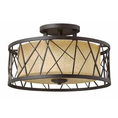 Rehberg 3-Light Semi Flush Mount Fixture Finish: Oil Rubbed Bronze
