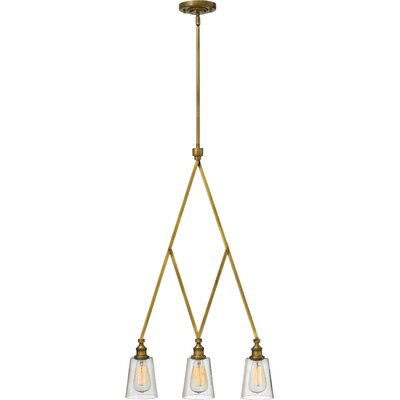 Gatsby 3-Light Kitchen Island Pendant Finish: Heritage Brass