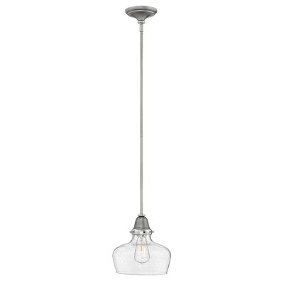 Jayda 1-Light Glass Shade Mini Pendant Finish: English Nickel